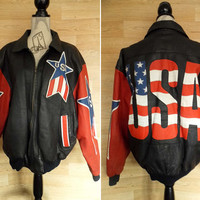 Vintage USA Leather Bomber Jacket • Stars and Stripes • USA Jacket • Michael Hoban • Black Leather Biker Jacket • American Flag Clothing