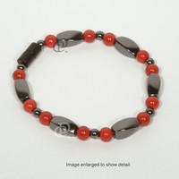 Magnetic Black Red Bracelet 3X Power Black Twist Beads, Round Red Beads, 5000 Gauss Black Clasp