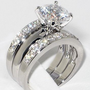 3.0 CTW G/SI1 REAL ENHANCED DIAMOND ENGAGEMENT RING SET WITH TWO SIDE MATCHING BANDS