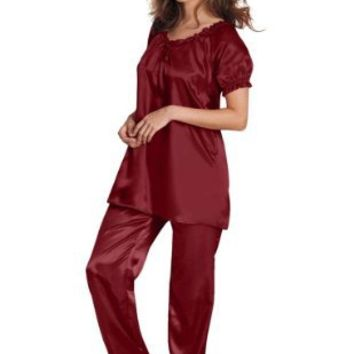 Amoureuse Women's Plus Size Satin Peasant Trapeze Pj Set