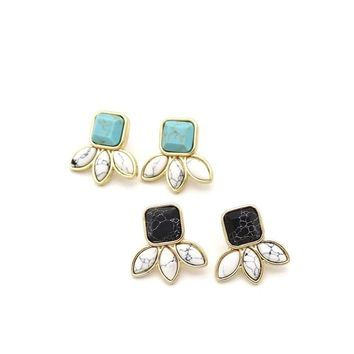 Leaf Black White Green Marble Natural Stone Stud Earrings Geometry Stone Gold Color Brincos Pendientes EAR STUD Jewelry Women