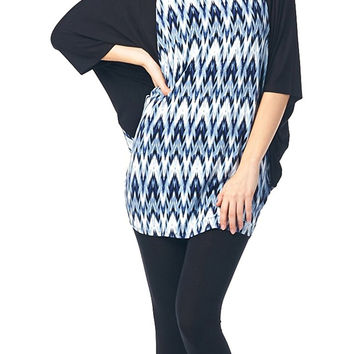 82 Days Women'S Rayon Span Contrast Print Jersey Tunic with Butterfly Sleeves - Print
