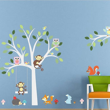 Cute, Jungle Animals, wall decals, stickers, kids room, owls, monkey, tree, mural, zoo, poster