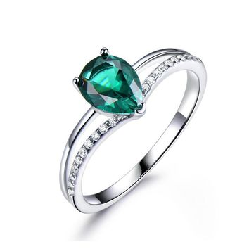 Russian Nano 6*8mm Green Emerald 925 Sterling Silver Ring