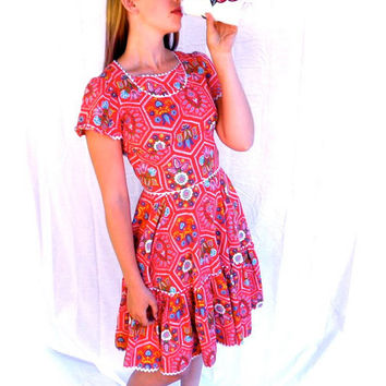 BOMBSHELL 1960s Red Swing Square Dance Dress // Sassy Pattern // Vintage 60s Circle Skirt // Fitted Bodice