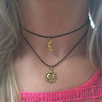 Double Choker Necklace Sun and Moon Gold Charms Choker 90s Black Cord Choker Necklace