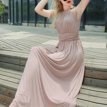 Women Sexy Back Comfort Silk Long Dress