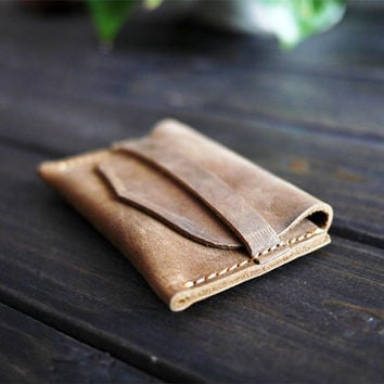 Minimailist Flapped Wallet  / Leather Card Holder/ Groomsmans Gift / Handmade Wallet