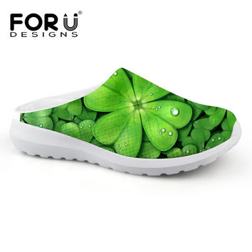 Casual Women Sandals Summer Shoes Mesh Breathable Green Leaf Clover Garden Shoes Outdoor Mules & Clogs Slip-on Women Slippers