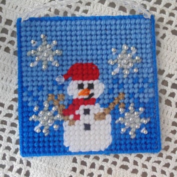 Snowman Winter Art Needlepoint Ornament