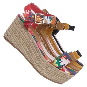 Motion02 Espadrile Platform Wedge Sandal - Women Jute Braided Flatform Open Toe