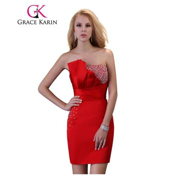 Grace Karin Cocktail Dress Sequined Red Sexy Party Gowns Robe De Cocktail Strapless Satin Mini Robes De Soiree Short Prom Dress