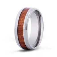 The Cove Koa Wood Inlay Titanium Ring