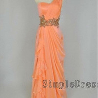 Real Sheath One-shoulder Floor-length Chiffon Ruffles Beading Long Prom/Evening/Party/Homecoming/Bridesmaid/Formal Dress 2013 New Arrival
