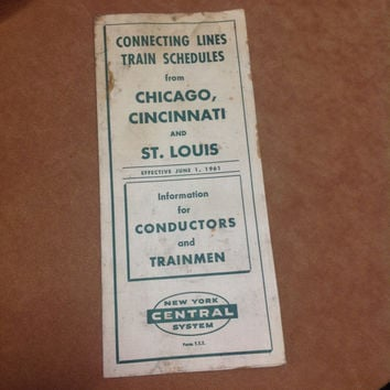 Vintage 1960s New York Central System Railroad Schedule Chicago Cincinnati St. Louis