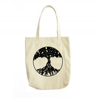 Tree Of Life Tote Bag, Canvas Tote Bag, Tote Handbag, Hippie Bag, Tree Of Life Illustration, Gift For Women, Womens Fashion, Tote Bag Canvas
