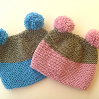 10% OFF knitted hats for kids , set teddy bear beanie for κids, PomPom Beanie, Hat for boys and girls, Knit Hat for Kids