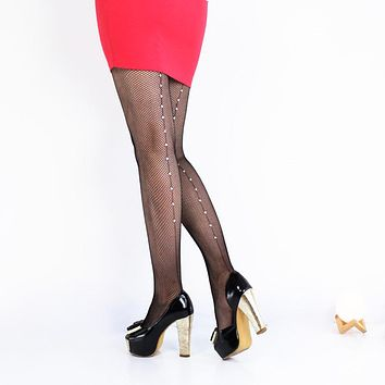 2017 Hot Sale Vintage Design Back Line pantyhose Seam Sexy Women's Diamonds fishnet stocking Shiny tights Black Beading collant