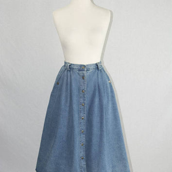 Vintage 80s Jean Skirt Button Front High Waist Denim S/M
