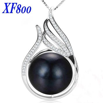[XF800]4 color natural Pearl Pendant necklace, real pearl fine jewelry, fashion trendy Necklace For Women P059
