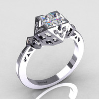 Classic Contemporary 950 Platinum .40 Princess Cut by artmasters