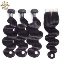 King Hair Body Wave 3 Bundles With Closure Peruvian Hair Bundles With Closure Remy Hair 4Pcs/Lot Human Hair Bundles With Closure
