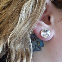 1 pair Custom Swarovski Crystal Earring Plugs in size 4g, 2g, 0g, 00g, 7/16, 1/2, 9/16, 5/8, 3/4, gauge, wedding