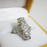 Vintage 14k White Gold and Diamond Art Deco Dinner Ring