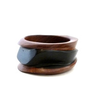 Modernist Chunky Wood Bangle Bracelet