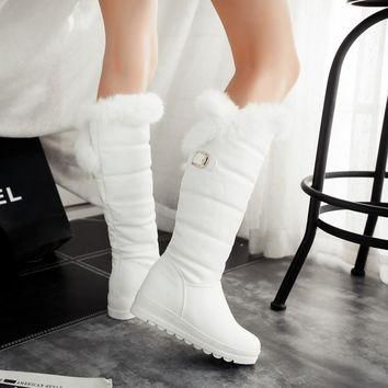 2015 Winter Autumn New Feathers Knight Knee Boots Women Fashion Slip-On Height Increas