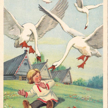 """Postcard Illustration for Russian Folk Tale """"The Magic Wild Geese"""" no.3 - 1956"""