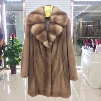 BFFUR Real Mink Fur Coat 2017 New Style Whole Peel Import Long Mink Coats Turn Down Big Collar Fur Coats Natural Fur BF-C1223