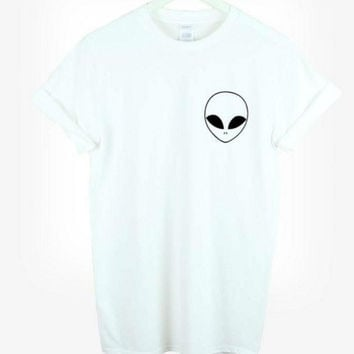 New Harajuku T-shirt  with Alien Emoji  Cotton T-shirt