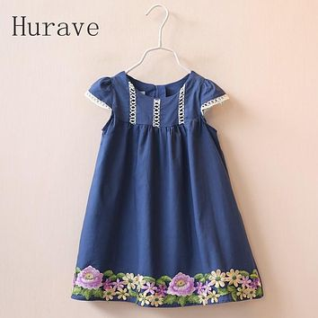 Hurave 2017 Girl Dress Cute Floral Baby Embroidered Cotton loose short-sleeved children dress clothing Flower Infant Girls Dress