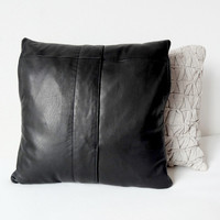 "Black leather pillow, Pocket pillow, Pillow case, Pillow cover, Upcycled leather, Decorative pillow, Pillow cushion, 16"", One of a kind"