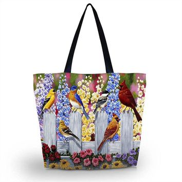 Birds Soft Foldable Bag Women Shopping Bag Beach Tote School Bag Purse Handbag Travel School Tote Recyclable Hand Bag