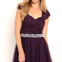 Short Homecoming Dress with Lace Cap Sleeves