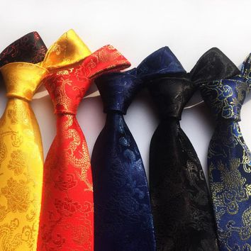 New Arrival New Design Brocade Fabric Festive Chinese Dragon Pattern Wedding Tie