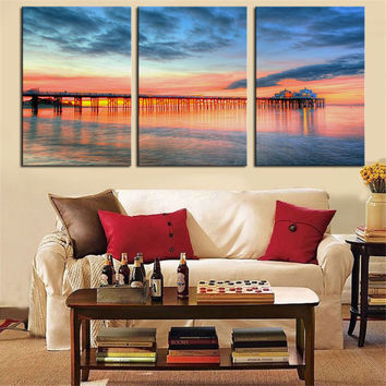 NO FRAME 3pcs beautiful malibu pier at sunset Printed Oil Painting On Canvas wall Painting for Home Decor Wall picture