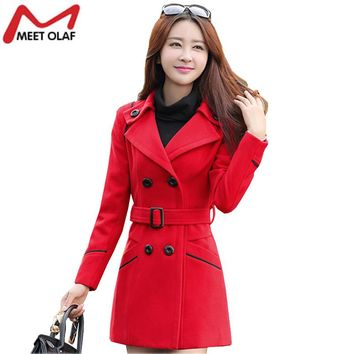 6ec72ea76c6 Women Woolen Coats 2017 New Female Winter Jackets Elegant Wool B