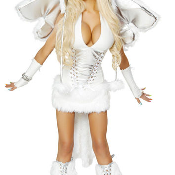 White Faux Fur Mini Dress Pegasus Costume