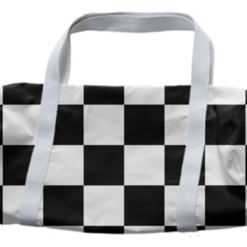 Black And White Checkered Duffle Bag created by KCavender   Print All Over Me