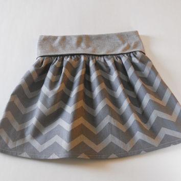 Grey Chevron Toddler Fold Over Waist Skirt, Little Girls Skirt, Grey Chevron Skirt Toddler, Twirl Skirt Toddler, Flounce Skirt Toddler