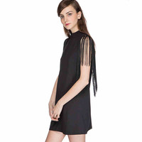 Black High Heck Fringed Dress