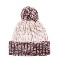 Contrast Bobble Beanie Hat - Blush