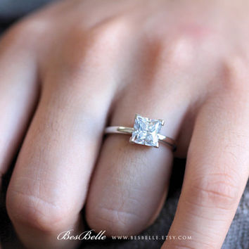 1.70 ct Solitaire Engagement Ring-Princess Cut Diamond Simulant-Bridal Ring-Anniversary Ring-Wedding Ring-Sterling Silver [2413]