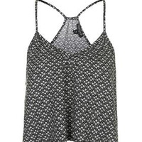 Tile Print Strappy Top - Monochrome