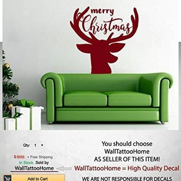 "Deer Wall Decals Sticker Merry Christmas Vinyl Decoration Decal Nursery Kids Room Bedroom Living Home Decor MS772 (16"" x 16"")"