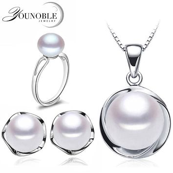 Real Wedding Natural Pearl Jewelry Sets 925 Silver Earring Set,Freshwater Pearl Sets Necklace Ring Women Best Birthday Gift