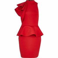 RED ASYMMETRIC FRILL SCUBA DRESS